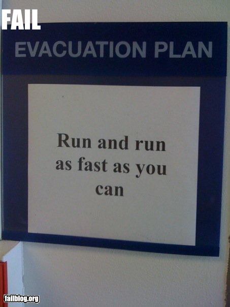 Funny evacuation sign fail