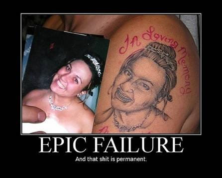 Epic failure funny tatto picture