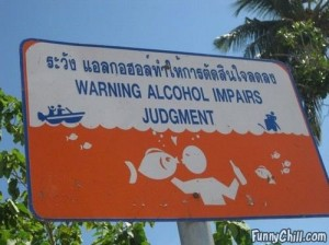 Funny alcohol warning sign